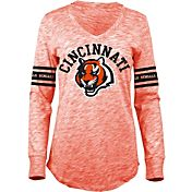 5th & Ocean Women's Cincinnati Bengals Space Dye Orange Long Sleeve Shirt