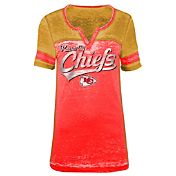 5th & Ocean Women's Kansas City Chiefs Burnout Red V-Neck T-Shirt