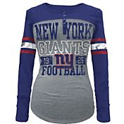 5th & Ocean Women's New York Giants Tri-Blend Henley Long Sleeve Shirt