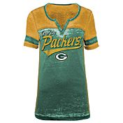 5th & Ocean Women's Green Bay Packers Burnout Green V-Neck T-Shirt