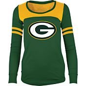 5th & Ocean Women's Green Bay Packers Glitter Green Long Sleeve Shirt