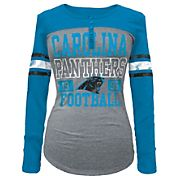 5th & Ocean Women's Carolina Panthers Tri-Blend Henley Long Sleeve Shirt