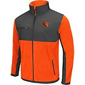 Colosseum Athletics Men's Oregon State Beavers Orange/Grey Mesa Polar Fleece Jacket