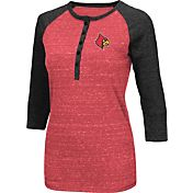 Colosseum Women's Louisville Cardinals Cardinal Red Three-Quarter Sleeve Henley Shirt