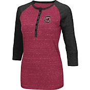 Colosseum Women's South Carolina Gamecocks Garnet Three-Quarter Sleeve Henley Shirt
