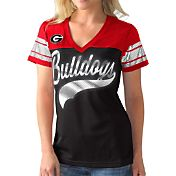 G-III For Her Women's Georgia Bulldogs Black/Red Pass Rush T-Shirt