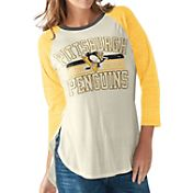 G-III for Her Women's Pittsburgh Penguins Hang Time Three Quarter Sleeve Vintage White T-Shirt