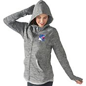 G-III 4Her Women's New York Rangers Recovery Grey Full-Zip Hoodie