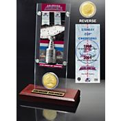 Highland Mint Colorado Avalanche 2x Stanley Cup Champions Ticket and Bronze Coin Acrylic Display