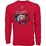 Levelwear Men's Florida Panthers Ripped Logo Red Long Sleeve T-Shirt