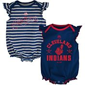 Majestic Infant Cleveland Indians Two-Piece Sparkle Onesie Set