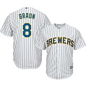 Majestic Men's Replica Milwaukee Brewers Ryan Braun #8 Cool Base Alternate Pinstripe Jersey
