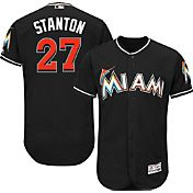 Majestic Men's Authentic Miami Marlins Giancarlo Stanton #27 Alternate Black Flex Base On-Field Jersey