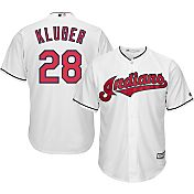 Majestic Men's Replica Cleveland Indians Corey Kluber #28 Cool Base Home White Jersey