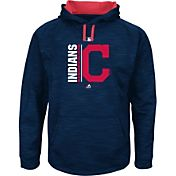 Majestic Men's Cleveland Indians Therma Base On-Field Navy Authentic Collection Pullover Hoodie