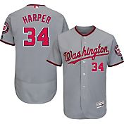 Majestic Men's Authentic Washington Nationals Bryce Harper #34 Road Grey Flex Base On-Field Jersey