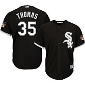 Majestic Men's Replica Chicago White Sox Frank Thomas #35 Cool Base Alternate Black Jersey w/ HOF Patch