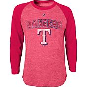Majestic Youth Texas Rangers Red Raglan Long Sleeve Shirt