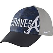 Nike Men's Atlanta Braves Dri-FIT Navy/Grey Swoosh Flex Fitted Hat