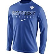 Nike Men's Kentucky Wildcats Blue Football Practice Long Sleeve Shirt