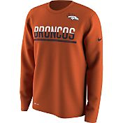 Nike Men's Denver Broncos Team Practice Performance Orange Long Sleeve Shirt