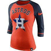 Nike Women's Houston Astros Orange/Navy Raglan Three-Quarter Sleeve Shirt