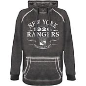 Old Time Hockey Men's New York Rangers Emblem Black Hoodie
