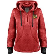 Old Time Hockey Women's Chicago Blackhawks Annabelle Red Quarter-Zip Hoodie