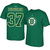 Reebok Men's Boston Bruins Patrice Bergeron #37 Green St. Patrick's Day 2016 Player T-Shirt