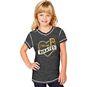 Soft As A Grape Youth Girls' Pittsburgh Pirates Black V-Neck Shirt