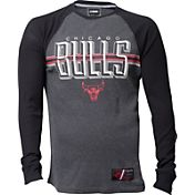 UNK Men's Chicago Bulls Grey/Black Thermal Long Sleeve Shirt