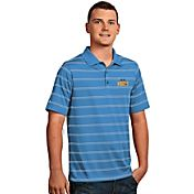 Antigua Men's Denver Nuggets Deluxe Light Blue Striped Performance Polo