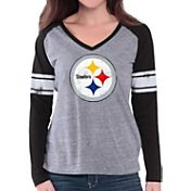 G-III for Her Women's Pittsburgh Steelers Raglan Black Long Sleeve Shirt