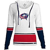 Levelwear Women's Columbus Blue Jackets Laced Up Lucy White Pullover Crewneck Hoodie T-Shirt