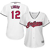 Majestic Women's Replica Cleveland Indians Francisco Lindor #12 Cool Base Home White Jersey