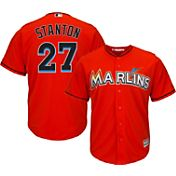 Majestic Youth Replica Miami Marlins Giancarlo Stanton #27 Cool Base Alternate Orange Jersey