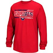 Reebok Men's Washington Capitals Frozen Stripe Red Long Sleeve T-Shirt