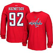 Reebok Men's Washington Capitals Evgeny Kuznetsov #92 Long Sleeve Player Red Long Sleeve T-Shirt